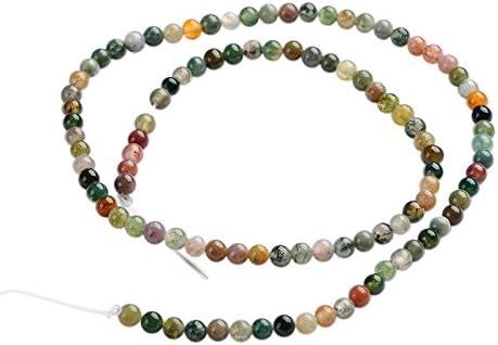 Pandahall Precio del 1 Pieza Hebras de perlas de piedras preciosas ágata redondas naturales indios sobre 100 unidades / cadena, 14.9