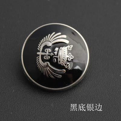 23 Mm Wing - Maslin 30pcs/lot Black Bottom Silver Edge High-Grade Metal Suit Coat Buttons dust Coat Black Wings Shirt Button 11.5-25mm - (Color: Black, Size: 23mm)