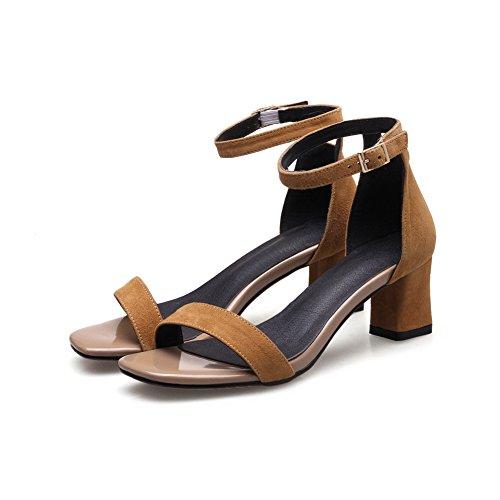 Metallschnallen Sandaletten SLC03675 Urethan Toe Peep Heels AdeeSu Gelb Chunky Womens vwqZtgt