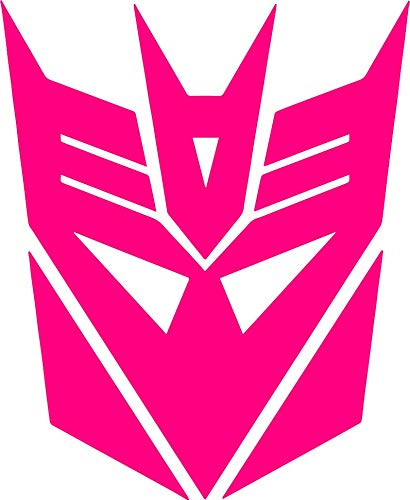 (zhehao Transformers Decepticon Logo Vinyl Decal - Decepticon Tumbler Decals - 1980's Transformers Cartoon Emblem Logo Decal (9x11 inches, Rose red))