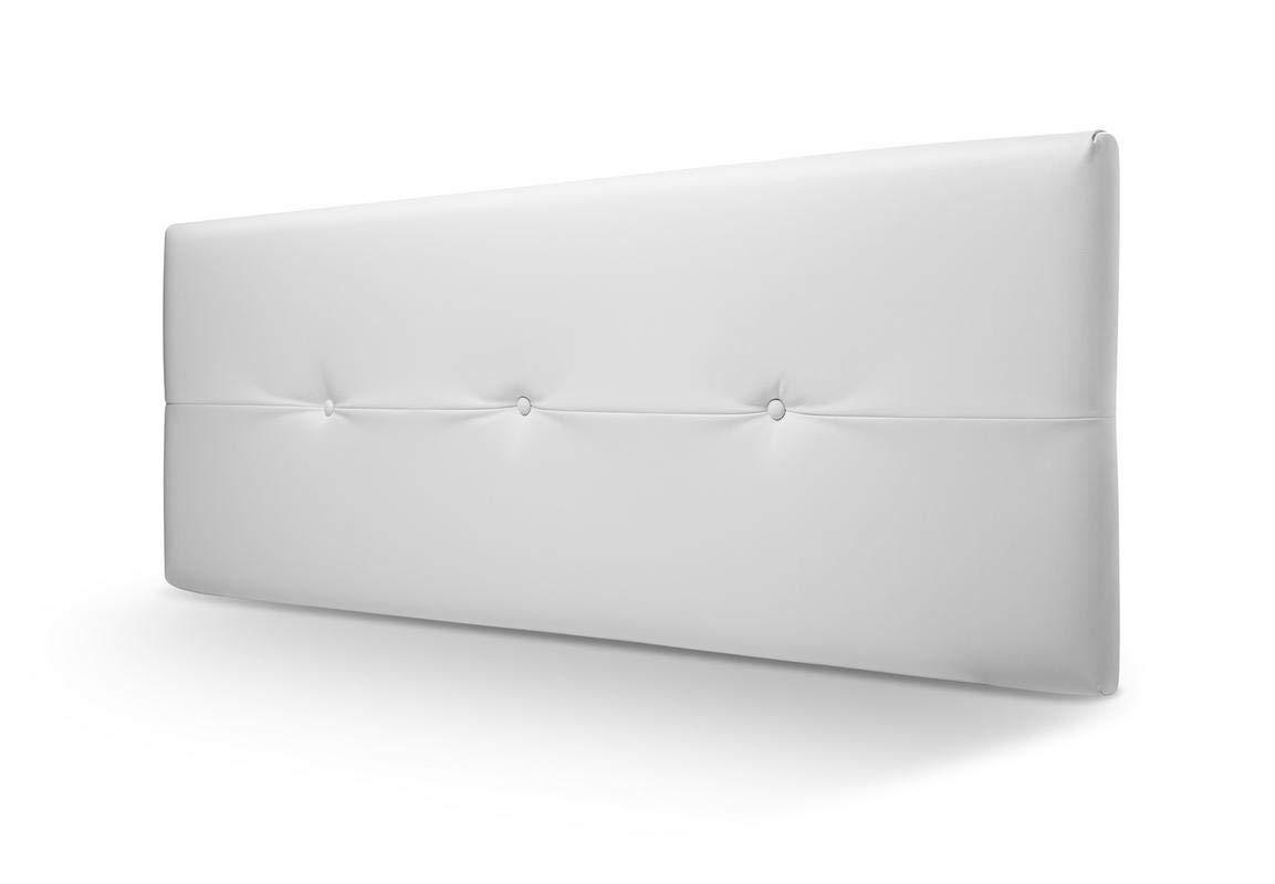 SERMAHOME- Cabecero tapizado acolchado Juliette. Tapicería en piel sintética limpiafácil verona Blanco. Medida