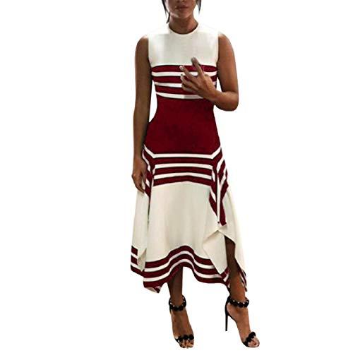 Photno Women Midi Dress Stripe Sleeveless Casual Dress Women Round Neck Party Dresses Red