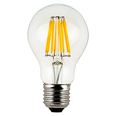 Vintage LED Filament Bulb A19 - 10W LED Light Bulb, Medium Screw E26 Base, Clear Soft White 2700K, LED Edison Bulb 100W Equivalent, 120VAC, Non-dimmable (100 Watts)