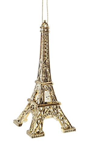 - French Eiffel Tower Gold-colored Hanging Christmas Ornament