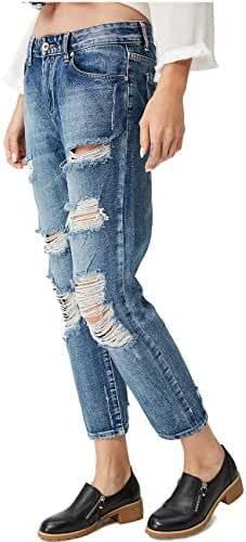 Glostory Women Blue Denim Ripped Hole Washed Distressed Destroy Jeans Ninth Pants WNK-2114