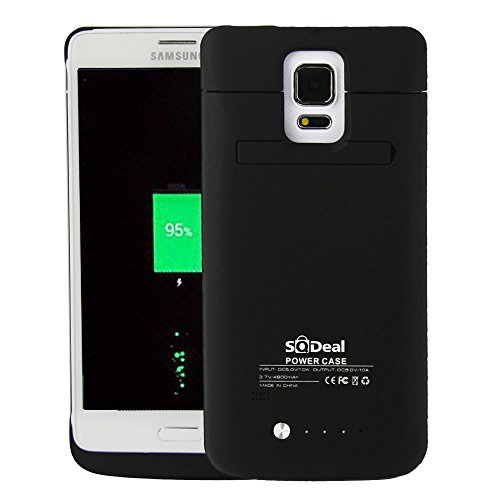 Note 4 Battery Case, SQdeal® High-capacity 4800mAh Emergency / Portable / Rechargeable Protective External Power Pack Backup Cellphone Battery Charger Case Power Bank Battery Back Cover Power Reserve Powerstation with Built-in Kickstand for Samsung Galaxy Note 4