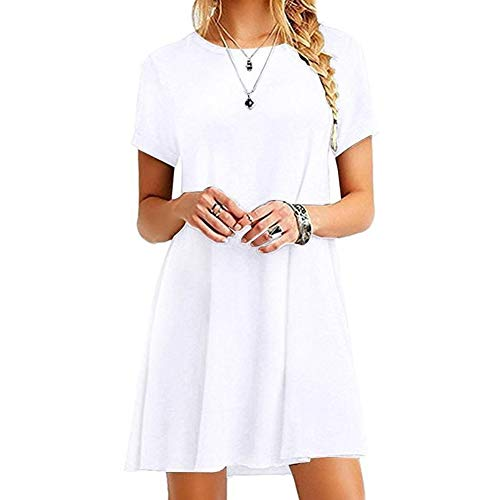 Acutty Women's Summer Casual Short Sleeve Tunic Solid Color T-Shirt Dress Round Neck Loose Beach Sundress Solid Color A…