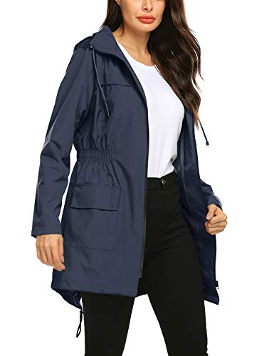 Avoogue Women Waterproof Windbreaker Long Sleeve Rain Jacket Hooded Hiking Camping Outdoor Wear Double Layer Coat Navy Blue L
