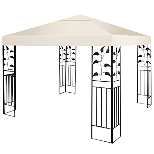 Waterproof Replacement - Tangkula 10'x10' Canopy Cover Outdoor Patio Gazebo Replacement Top Cover Wedding Party Event Tent Cover Heavy Duty Durable Waterproof Sun Snow Rain Shelter 1-Tier or 2-Tier 3 Color (1-Tier, Beige)