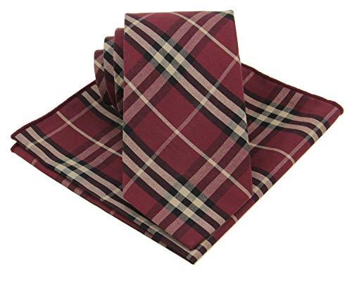 Mens Madras Plaid Tie Set : Necktie with Matching Pocket Square -Various Colors (Burgundy)