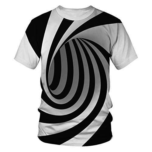 Heymiss Unisex 3D Print T-Shirt Graphic Tee Crewneck Short Sleeve T-Shirts for Men Women Tunic Tops Black White Vortex L