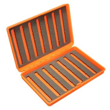 Plastic Slim Fly Fishing Box Fishing Tackle Box Slit Foam Insert - Fishing Tackle Boxes & Bags - (Orangered) - 1 x Plastic Slim Fly Fishing Tackle Box