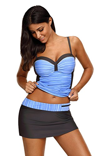REKITA Womens Swimsuit Halter Tankini Top and Skort Bottom Set Bathing Suits, Blue Grey, Large