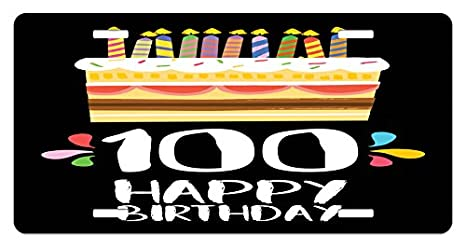Ambesonne 100th Birthday License Plate Old Legacy 100 Party Cake Candles On Black Major