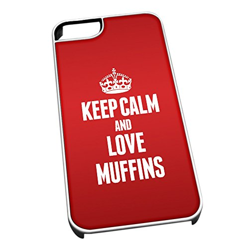 Bianco cover per iPhone 5/5S 1302Red Keep Calm and Love muffins