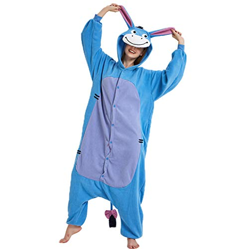 Sweetdresses Adult Unisex Animal Sleepsuit Kigurumi Cosplay Costume Pajamas (Large, Donkey)]()