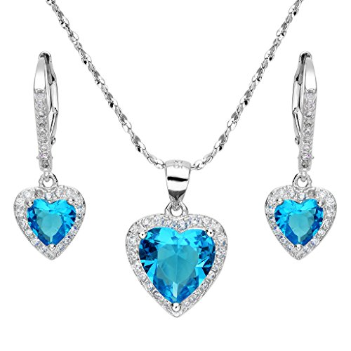 EleQueen 925 Sterling Silver Cubic Zirconia Love Heart Bridal Pendant Necklace Leverback Earrings Set