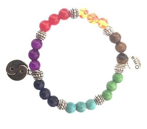 7 Chakra Semi Precious Stones Tibetan Buddhist Meditation and Healing Bracelet With Ying Yang Charm - OMA Brand by OMA (Image #2)