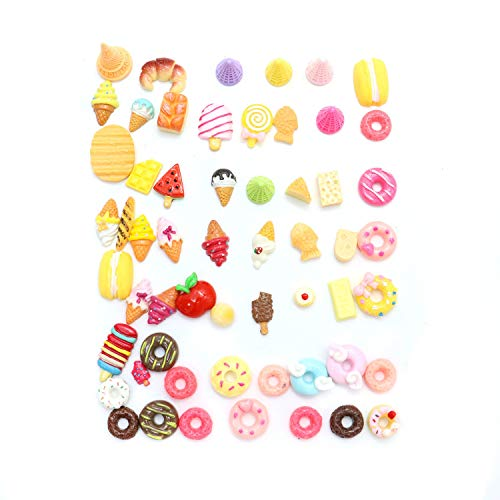 (Monrocco 60 PCS Dessert and Food Resin Cabochons for Craft Making, DIY Flatbacks Resin Flat Back Buttons Scrapbooking Slime Charm,Doughnut, Ice Cream, Cakes)