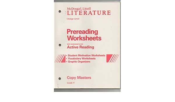 Mcdougal, Littell Literature, Prereading Worksheets with ...