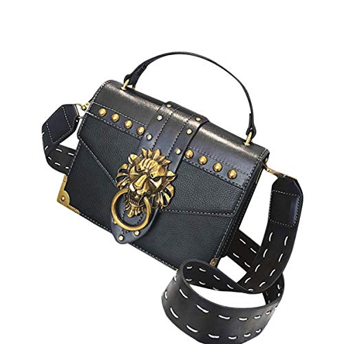 - Mini Crossbody Bag Designer Clutch for Women Rivets Bags with Lion Head Ring PU Leather Shoulder Bag for Girls (Black,)