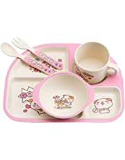 TOYANDONA 5PCS Baby Dinner Set Divided Feeding Plate Bowl Fork Spoon Cup Bamboo Dinnerware Tableware for Baby Kids Toddlers