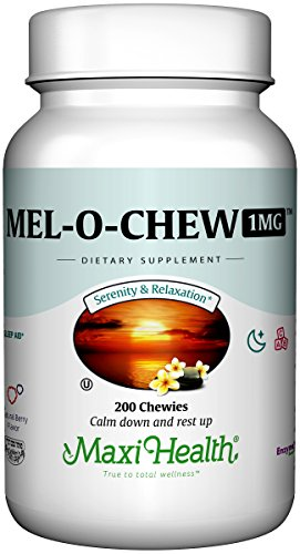 Maxi Health Mel-O-Chew - Chewable Melatonin - Sleep Aid - 1 Mg - Berry Flavor - 200 Chewies - Kosher