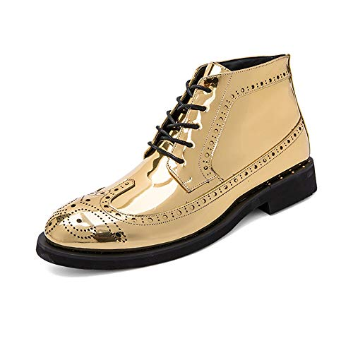 (Hilotu Men's Fashion Ankle Work Boot Casual Autumn and Winter Classic Carved Patent Leather Brogue High Top Dress Shoes (Color : Gold, Size : 7.5 D(M))
