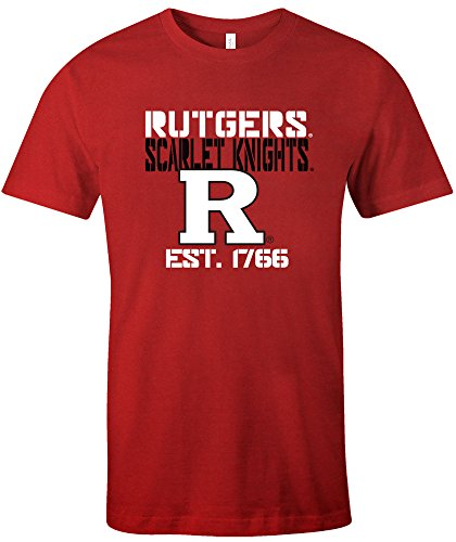 NCAA Rutgers Scarlet Knights Est Stack Jersey Short Sleeve T-Shirt, Red,XX-Large