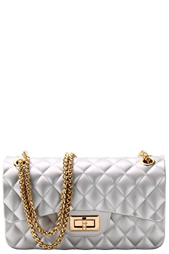 Luxury Silicone Quilted Crossbody Bag (SILVER (Silver Quilted Handbag)