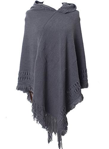 (Jenkoon Women Hooded Cape with Fringed Hem Warm Cloak Coat Crochet Poncho Knitting Patterns (Grey, F))