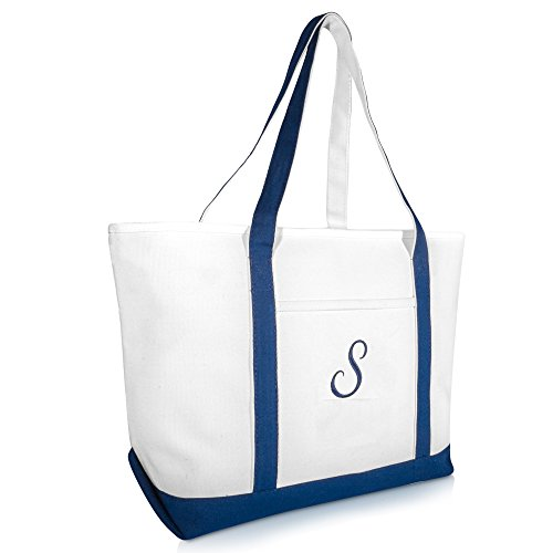 (DALIX Quality Canvas Tote Bags Large Beach Bags Navy Blue Monogrammed S)