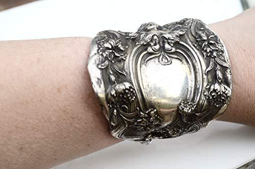 Antique Victorian Lady Face Silver Goddess Art Nouveau Wide Cuff Bracelet Woman Bracer Warrior Armor