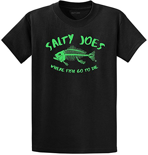 Salty Joe's Where Fish Go To Die Heavyweight Cotton T-Shirt-Blk/Green-M Blk Green