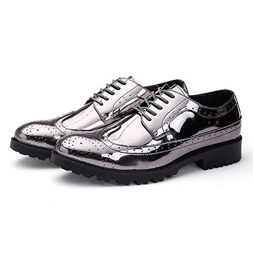 Gold Up tamaño 41 Moda Shiney Silver Jusheng Hombre Color Vamp Zapatos PU Cuero EU Lace de para F8qnR7UnOw