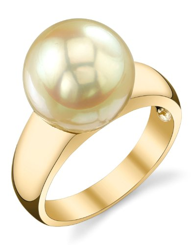 THE PEARL SOURCE 14K Gold 10-11mm Round Genuine Golden South Sea Cultured Pearl Abigail Ring for ()