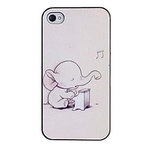 CL - Bebé elefante que juega el caso del patrón de la PC dura Piano con Negro Marco para el iPhone 4/4S
