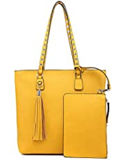Shoulder Purse,Hobo Bag Set Tote Handbag for Women Large Chic Classic Elegant Medium Size with Wallets Tassels (Medium, Yellow)