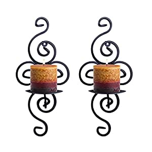 picture of Super Z Outlet Pair of Elegant Swirling Iron Hanging Wall Candleholders Votives Sconce for Home Wall Decorations, Weddings, Events