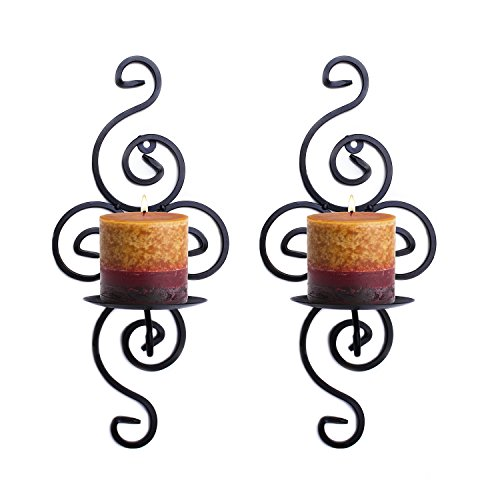 Pair of Elegant Swirling Iron Hanging Wall Candleholders Votives Sconce for Home Wall Decorations, Weddings, Events by Super Z Outlet
