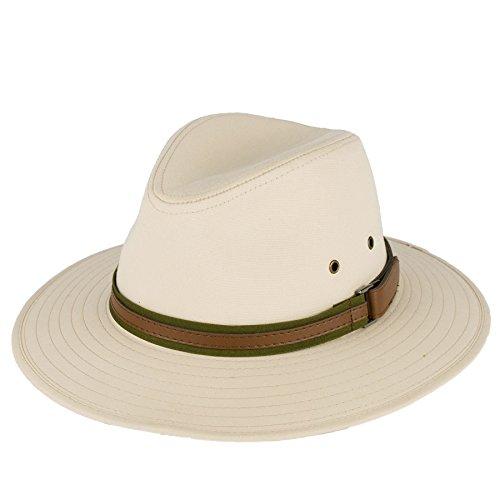 Men's Ladies Fedora Hat Plain With Faux Leather Band - Beige (59/L)
