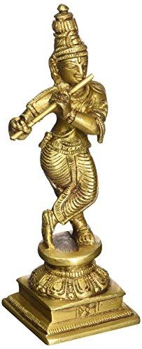 Fluting Krishna - Brass Statue