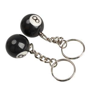 Vktech 2x Billardkugel Schlüsselanhänger Schlüsselring Glück Nr.8