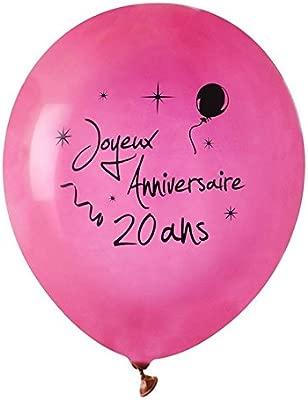 Chal - Balón cumpleaños feliz Fuschia 20 años X 8: Amazon.es ...