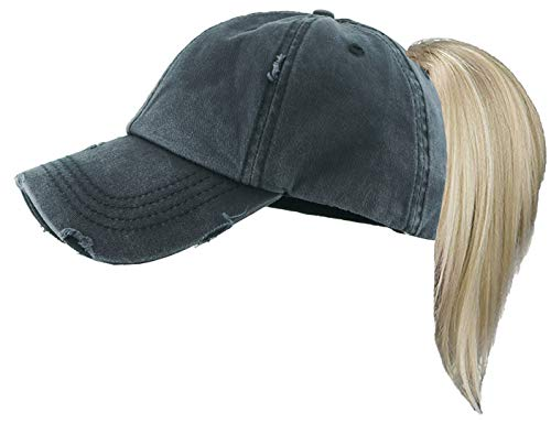 H-209KIDS-SD06 Kids Messy Bun Pony Tail Hat - Distressed - Solid Black ()