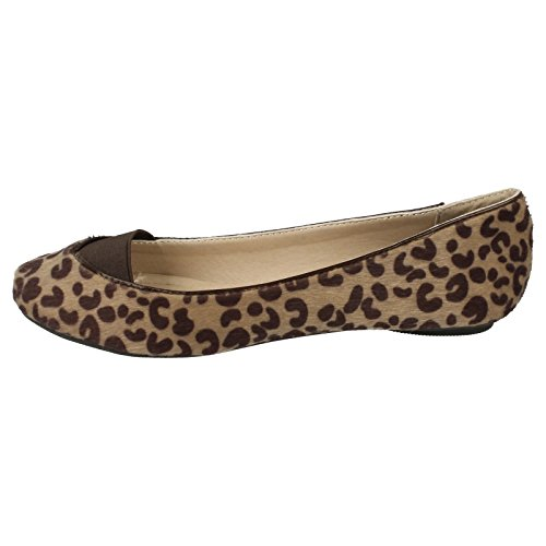 Fur Ladies Spot Elastic On Vamp Leopard Ballerina Zwickel Natürlicher ErEw54Fq