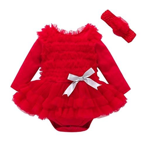 TRENDINAO Toddler Baby Girls Clothes Lace Solid Ruffles Princess Party Dress Outfits Romper (Dirty 30 Dress Up Ideas)