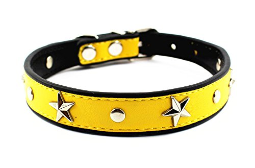 Mora Pets Silver Star Studded Designer Dog Collar│Cute, Soft and Durable Leather Collar for Puppies, Small Dogs and Cats│6 Colors Available(Medium, Yellow) (Dog Collar Leather Yellow)