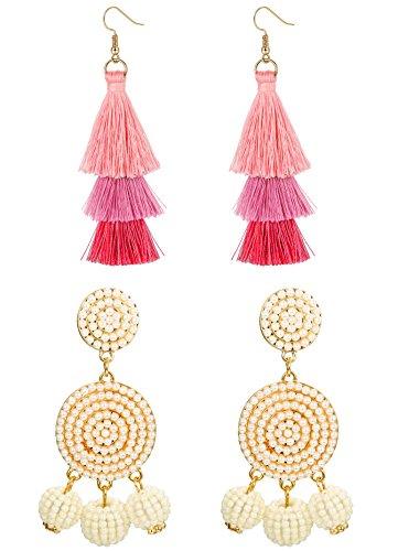 Udalyn 2 Pairs Drop Earrings Beaded Chandelier Earrings For Women Girls Pink Tassel Earrings (Beaded Drop Earring Set)