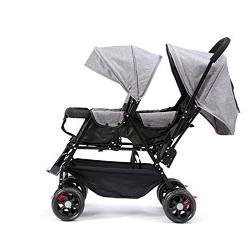 HZYWL Double Stroller Stand On Tandem Stroller Tropic Baby Select Double Stroller with 2nd Seat,Gray